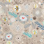 seamless floral pattern on a brown background Stock Photo - Royalty-Free, Artist: tanor                         , Code: 400-04916840
