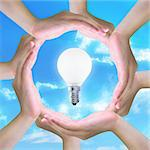 light bulb in women hand making a circle Stock Photo - Royalty-Free, Artist: pariwatlp                     , Code: 400-04917198