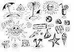 hand drawn summer objects isolated on the white background Stock Photo - Royalty-Free, Artist: jonnysek                      , Code: 400-04917325