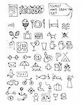 hand drawn hotel symbols isolated on the white background Stock Photo - Royalty-Free, Artist: jonnysek                      , Code: 400-04917348