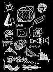 math and geometry isolated on the black board Stock Photo - Royalty-Free, Artist: jonnysek                      , Code: 400-04917358
