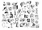 hand drawn medical symbols isolated on the white background Stock Photo - Royalty-Free, Artist: jonnysek                      , Code: 400-04917361