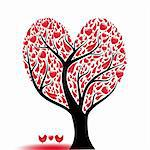 Beautiful abstract love tree with hearts and birds Stock Photo - Royalty-Free, Artist: inbj                          , Code: 400-04917572