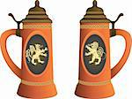 Ancient beer mugs with emblems of a lion and a griffin in a vector Stock Photo - Royalty-Free, Artist: nikolaich                     , Code: 400-04918735