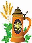 Beer mug on a background of leaves of hop and ears of barley in a vector Stock Photo - Royalty-Free, Artist: nikolaich                     , Code: 400-04918736