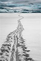 Cross country ski track over ice Stock Photo - Royalty-Freenull, Code: 400-04918809