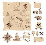 Example map and design elements to make your own fantasy or treasure maps. Includes mountains, buildings, trees, compass etc. Stock Photo - Royalty-Free, Artist: Krisdog                       , Code: 400-04918881