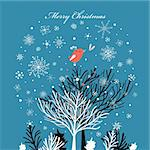 Winter bright postcard with trees and bird and snowflakes on a blue background