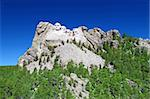 Mount Rushmore National Memorial carved into the peaks of the Black Hills in South Dakota.