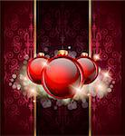 Elegant Merry Christmas and Happy New Year background with vintage seamless wallpaper and glossy baubles. Stock Photo - Royalty-Free, Artist: DavidArts                     , Code: 400-04921256