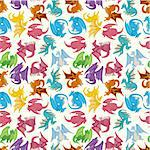 cartoon fire dragon seamless pattern   Stock Photo - Royalty-Free, Artist: notkoo2008                    , Code: 400-04921373