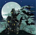 Halloween scene. Illustration of a spooky haunted ghost house with bats flying out of it against the moon. Stock Photo - Royalty-Free, Artist: Krisdog                       , Code: 400-04921815