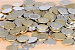 Many coins on wooden surface _shallow depth of field_ Stock Photo - Royalty-Free, Artist: Gelpi                         , Code: 400-04923717