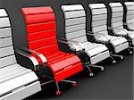 Red armchair for leader and gray for others - leadership concept Stock Photo - Royalty-Free, Artist: mileatanasov                  , Code: 400-04924717