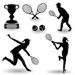 A collection of different tennis related silhouettes isolated on white background. Stock Photo - Royalty-Free, Artist: Stiven                        , Code: 400-04924881