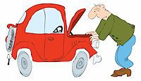 The man in front of the open hood of the car. Vector illustration of EPS. Stock Photo - Royalty-Freenull, Code: 400-04925126
