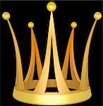 Gold crown the princess isolated on a black background Stock Photo - Royalty-Free, Artist: nikolaich                     , Code: 400-04925489