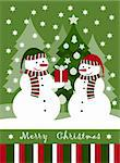 vector Christmas card with pair of snowmen, Adobe Illustrator 8 format Stock Photo - Royalty-Free, Artist: beta757                       , Code: 400-04926284