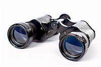 Used black binoculars with shadow on a white background Stock Photo - Royalty-Freenull, Code: 400-04932489