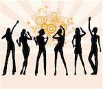 Young girls dancing - vector