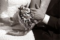Wedding bouquet in hands of the bride. b/w+sepia Stock Photo - Royalty-Freenull, Code: 400-04939641