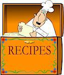 This illustration depicts a chef in a recipe box. Stock Photo - Royalty-Free, Artist: caraman                       , Code: 400-04943998