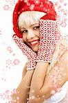 pretty girl in santa helper hat surrounded by rendered snowflakes Stock Photo - Royalty-Free, Artist: dolgachov                     , Code: 400-04944042