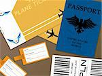 Illustration of all the documents that you would need when you fly from an airport