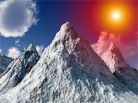 An image of a computer created snowy ice mountain,with added sun effect. Stock Photo - Royalty-Freenull, Code: 400-04955978