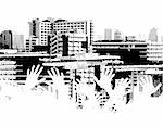 Vector halftone design of a city skyline with out-stretched hands