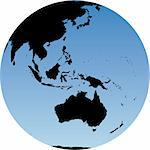 Virtual earth globe view - Australia and Oceania Stock Photo - Royalty-Free, Artist: icefront                      , Code: 400-04959649