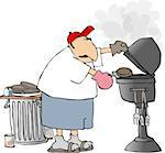 This illustration depicts a man barbequeing hamburgers. Stock Photo - Royalty-Free, Artist: caraman                       , Code: 400-04963596