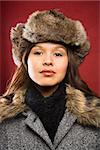 Young adult Caucasian woman wearing fur hat looking at viewer. Stock Photo - Royalty-Free, Artist: iofoto                        , Code: 400-04967438