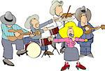 This illustration depicts a country & western band. Stock Photo - Royalty-Free, Artist: caraman                       , Code: 400-04968457