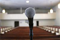 a microphone in an empty church sanctuary Stock Photo - Royalty-Freenull, Code: 400-04972084