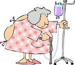 This illustration depicts an old woman wearing a hospital gown. Stock Photo - Royalty-Free, Artist: caraman                       , Code: 400-04974986