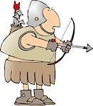 This illustration depicts a Roman type soldier carrying a bow & arrow. Stock Photo - Royalty-Free, Artist: caraman                       , Code: 400-04976397