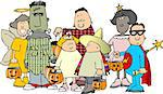 This illustration depicts a group of children in Halloween costumes. Stock Photo - Royalty-Free, Artist: caraman                       , Code: 400-04976768