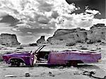 Abandoned car with bullet holes in the middle of nowhere, Wyoming. Selective desaturation on background. Stock Photo - Royalty-Free, Artist: sascha                        , Code: 400-04976789