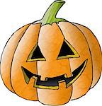 This illustration depicts a carved Halloween pumpkin. Stock Photo - Royalty-Free, Artist: caraman                       , Code: 400-04977442
