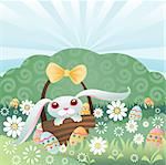 Bunny in a basket, hiding colorful Easter eggs in the grass and flowers Stock Photo - Royalty-Free, Artist: velusariot                    , Code: 400-04981685
