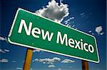 New Mexico Road Sign with dramatic clouds and sky. Stock Photo - Royalty-Free, Artist: Feverpitched                  , Code: 400-04982419