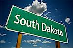South Dakota Road Sign with dramatic clouds and sky. Stock Photo - Royalty-Free, Artist: Feverpitched                  , Code: 400-04982427