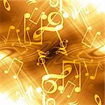 golden abstract background with music notes in it