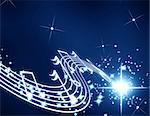musical notes on a dark blue background