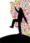Dancing woman silhouette over a colored circles background Stock Photo - Royalty-Free, Artist: pnog                          , Code: 400-04986363
