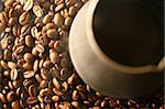 coffee beans Grains of coffee let out aroma and smells drawing of attention Stock Photo - Royalty-Free, Artist: yellowj                       , Code: 400-04986458