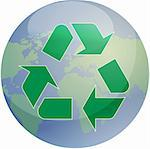 Recycling eco symbol illustration of three pointing arrows over world globe map Stock Photo - Royalty-Free, Artist: kgtoh                         , Code: 400-04987593