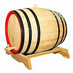 Big wooden barrel for beverages isolated on white  Stock Photo - Royalty-Free, Artist: Baloncici                     , Code: 400-04989644