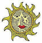 The big yellow sun, with a nose, lips and eyes Stock Photo - Royalty-Free, Artist: disapier                      , Code: 400-04990825